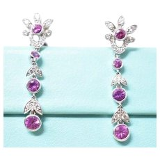 Vintage TIFFANY CO Legacy Pink Sapphire & Diamond Garland dangle Earrings Platinum