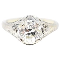 1.62 Carat Beautiful Art Deco Diamond 18K White Gold Engagement Ring GIA