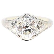 1.62 Carat Beautiful Art Deco Diamond 18K White Gold Engagement Ring GIA