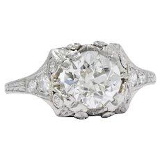 Majestic 1.25 Carat Beautiful Art Deco Platinum Diamond Engagement Ring GIA