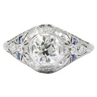 Belle Époque 1.14 CTW Diamond & Synthetic Sapphire Platinum Alternative Ring GIA