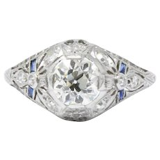1.14 Carat Platinum Belle Époque Diamond Sapphire Engagement Ring GIA