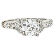 1.39 Carat Lovely Art Deco Diamond Platinum Engagement Ring GIA