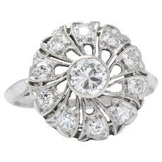 Divine 1950's Platinum Diamond Cluster Alternative Ring