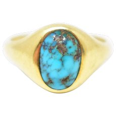 Art Nouveau 14K Yellow Gold Turquoise Ring Newark