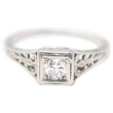 Art Deco Platinum White Gold Filigree Diamond Engagement Ring