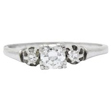 Pretty 1940's Platinum Diamond Engagement Ring