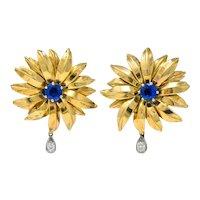 Cartier London 1940's Unheated 2.10 CTW Burma Sapphire Diamond 18K Gold Earrings AGL
