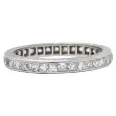 Graceful Art Deco Platinum French Cut Diamond Eternity Band Ring