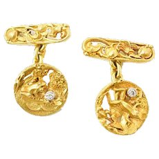 Art Nouveau Old Mine Diamond 18 Karat Gold Frog Lily Pad Men's Cufflinks