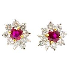 Vibrant Tiffany and Co. Ruby Diamond 18K White Gold Earrings