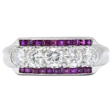 Splendid 1940's Ruby Diamond Platinum Eternity Band Ring