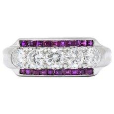 1.15 Carat Splendid 1940's Ruby Diamond Platinum Eternity Band Ring