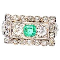 Edwardian Emerald European Mine Rose Cut Diamond Platinum 14K Gold Ring