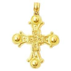 ILIAS LALAOUNIS 22K Yellow Gold Large Cross Pendant