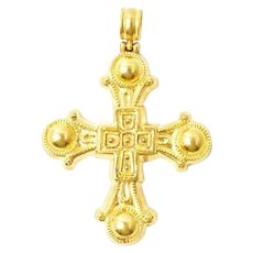 ILIAS LALAOUNIS 22K Yellow Gold Large Cross Pendant