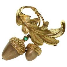 RAYMOND YARD Emerald Oak Acorn Leaf 18K Yellow Gold Brooch