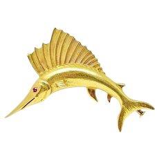 ASPREY Ruby Sailfish Brooch Pin 18K Yellow Gold Circa 1960