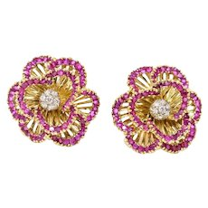Tiffany and Company Ruby Diamond Flower Earrings 18K Yellow Gold Italian