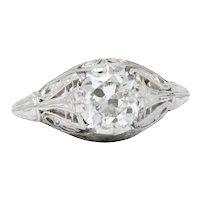 Gorgeous Art Deco 1.09CTW Diamond Platinum Engagement Alternative Ring GIA
