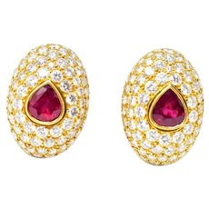 HENNELL 18K deep red ruby and diamond dome earrings 15 Carat total Weight