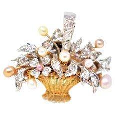 Lovely Edwardian Platinum 18K Diamond Pearl Flower basket Pin/Pendant