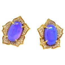 Vibrant ANGELA CUMMINGS 18K Blue Opal Round Brilliant Diamond Earrings