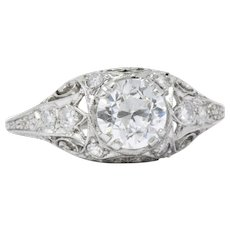1.01 Carat Striking Art Deco Diamond Platinum Engagement Ring GIA