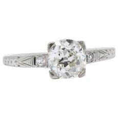 1.22 Carat Enchanting Art Deco Diamond 18K White Gold Engagement Ring GIA