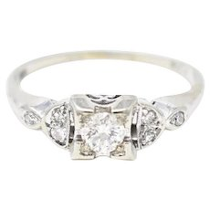 Cute 1940's 14K White Gold Diamond Engagement Ring
