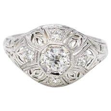 Art Deco .40 Carat Filigree 18K White Gold Diamond Engagement Ring