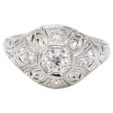 Art Deco .40 Carat Filigree 18K White Gold Diamond Engagement Ring