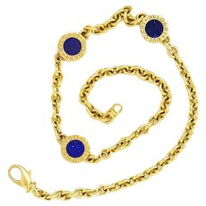 BVLGARI 18K Yellow Gold Lapis Double-Sided Circular Necklace