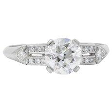 1.23 Carat Elegant Platinum Art Deco Diamond Engagement Ring GIA