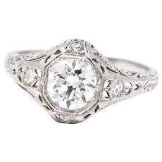 1.13 Carat Lovely Art Deco Platinum Old European Diamond Engagement Ring GIA
