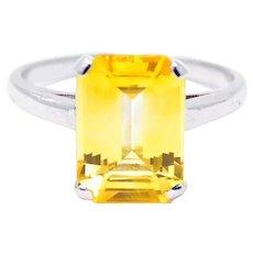 4.83 Carat Lambert Brothers Vibrant Yellow Sapphire Platinum Ring