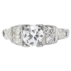 .94 Carat Art Deco 1930's 18K White Gold Diamond Engagement Ring GIA