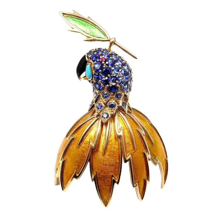 da70587db Tiffany & Co. Schlumberger Large Enamel Ruby Sapphire Turquoise Gold Parrot  Brooch