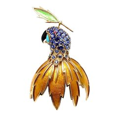 Tiffany & Co. Schlumberger Large Enamel Ruby Sapphire Turquoise Gold Parrot Brooch