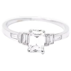 Sparkling 1.21 Carat 1950's Platinum Emerald Cut Diamond Engagement Ring GIA