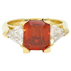 Divine Mexican Fire Opal Triangular Diamond 18K Yellow Gold Ring