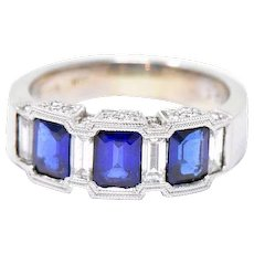 Vintage Natural Sapphire Diamond 18K White Gold Band Ring By Spark