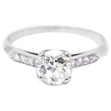 1.49 Carat Enchanting Platinum 1940's Diamond Engagement Ring GIA