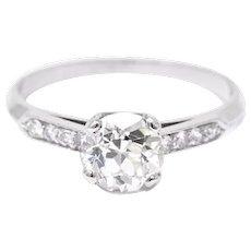 1.49 Carat Enchanting Platinum 1940's Diamond Engagement Ring GIA