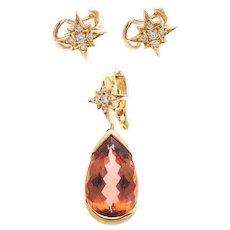 6.50 Carat Imperial Topaz Diamond 18K Yellow Gold Star Earrings & Pendant by H. Stern