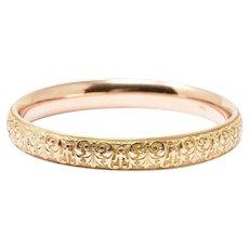 Floral Krementz Art Nouveau 14K Yellow Gold Enamel Slip On Bangle Bracelet