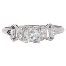 Delightful Art Deco .48 CTW Diamond & Platinum Alternative Engagement Ring