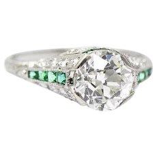 Art Deco 2.50 Carat GIA Certified Diamond Emerald platinum Engagement Ring