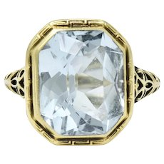 5 Carat 14K Green Gold Arts & Crafts Aquamarine Ring