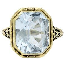 5 Carat 14K Green Gold Arts & Crafts Aquamarine Ring